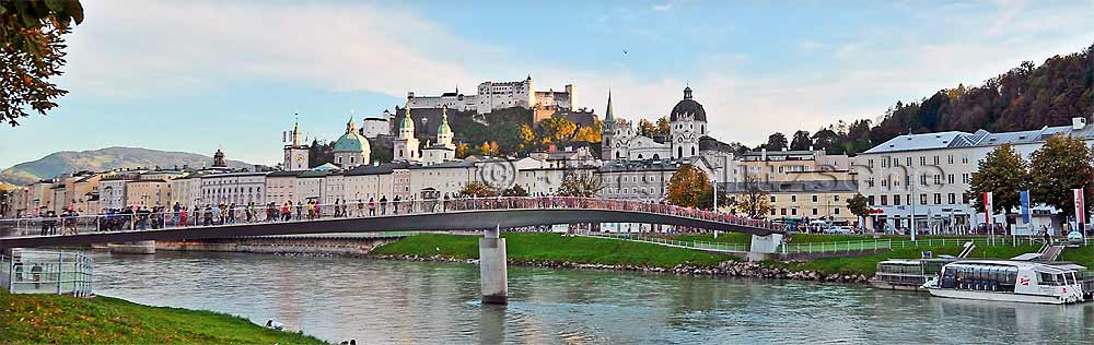 View from the Makartsteg over the Salzach to the Salzburg old town and the fortress Hohensalzburg.