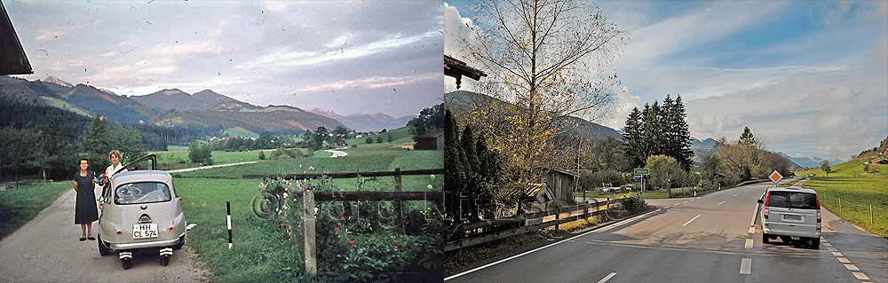Bergen is a municipality in the Upper Bavarian district of Traunstein - road from Siegsdorf to Bergen - then and now!