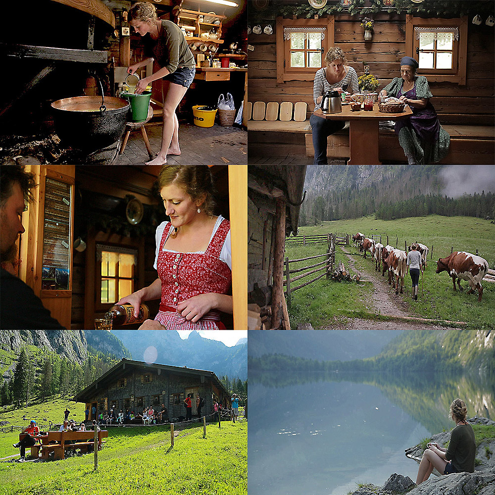 The young lady at work on the Fischunkelalm - SWR TV crew - People People - Christina's Alpine Dream - An Eifel farmer at Königssee.